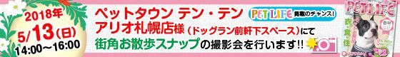 ペットタウン テン・テン札幌アリオ店にて街角お散歩スナップの撮影会を行います!!
