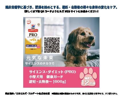 サイエンス・ダイエット〈PRO〉小型犬用 健康ガード 避妊・去勢後~【600g】抽選12名様